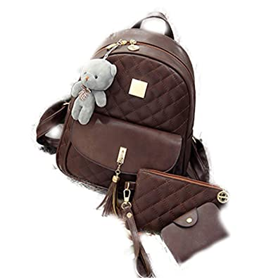 NeiNei 3 Pcs Bear Backpack Women Bag Diamond Lattice School Bags For Girls  Backpacks For Women 42fb30701ced5