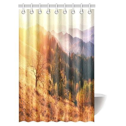 InterestPrint Fantastic Sunset Shower Curtain Mountain Range In The Carpathian Mountains Autumn Season