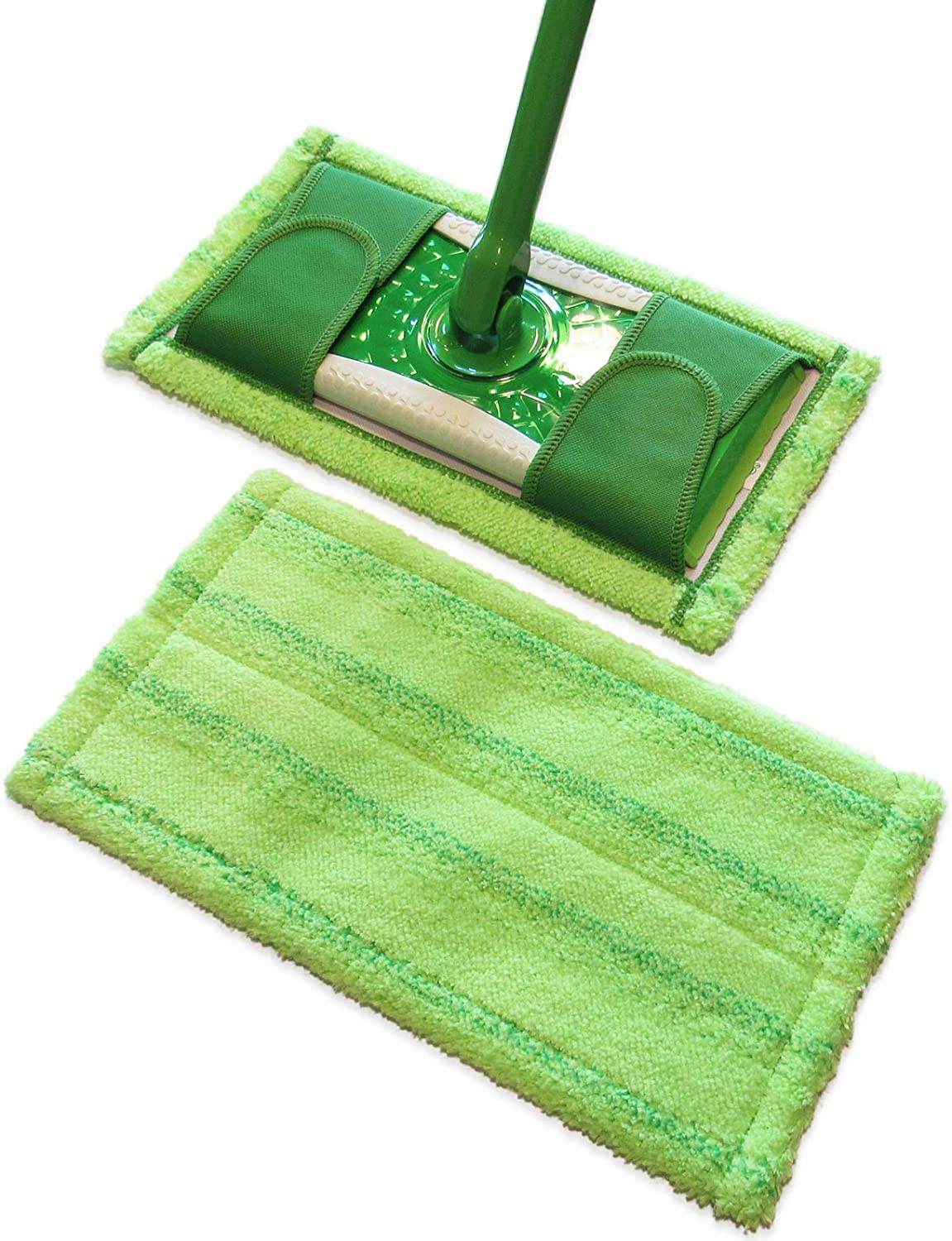 Swiffer Sweeper Compatible, Microfiber Mop Pads by Easily Greener, Reusable Refills for Wet & Dry Use, 2 Count