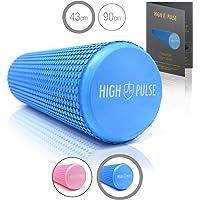 High Pulse Rodillo Pilates 43 x 15 cm + póster con ejercicios - Rodillo de espuma para músculos, fitness o masaje (Azul)