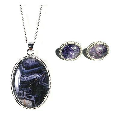 Silver / (Derbyshire) Blue John Scroll 'Delight' Pendant and Chain hfNtuLZ