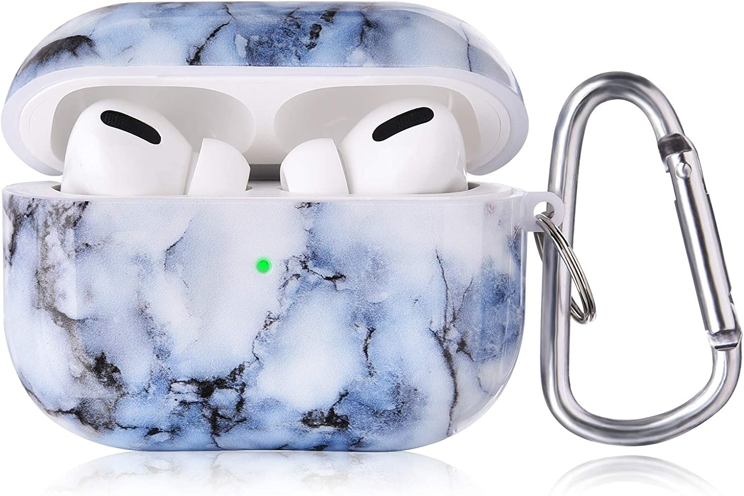 KOREDA for Airpods Pro Case Cover, Cute Protective Hard Case for Girls Women Men Airpods Accessories Portable & Shockproof for Apple Airpods Pro Charging Case with Keychain/Strap (Blue White Marble)