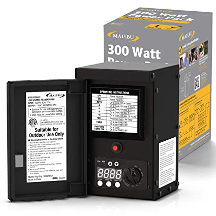 LED Malibu 300 watt Outdoor Transformer with Digital Timer and Ground on