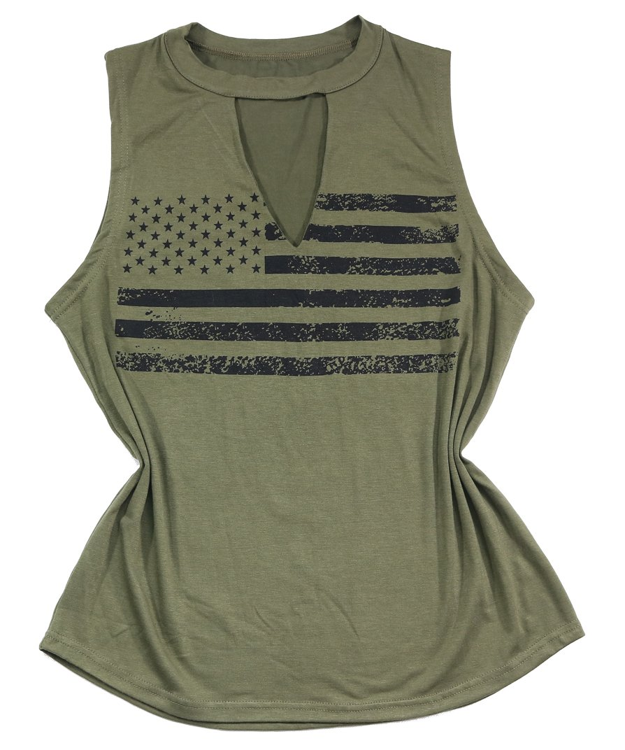 BANGELY Women American Flag Print Hollow Out V-Neck Tank Tops Sleeveless Shirt Vest Tee Blouses Size X-Large (Green)