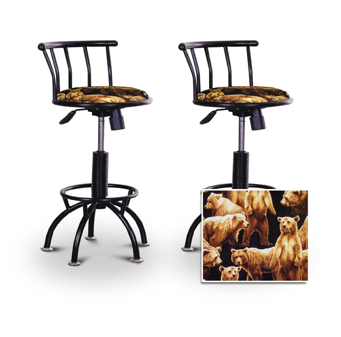 2 24''-29'' Grizzly Bear Hunting Wild Animal Black Adjustable Specialty / Custom Barstools Set