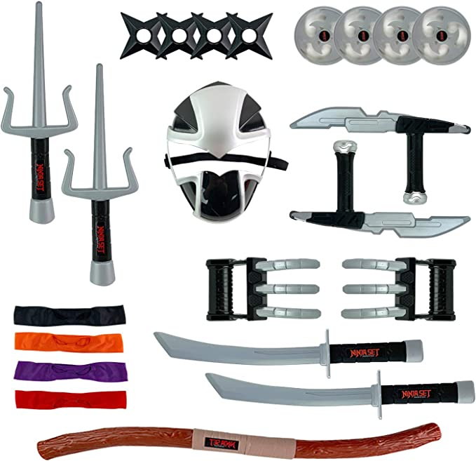 Deluxe Ninja Warrior Weapons Playset - Kids Pretend Role Play Toy Costume Accessories