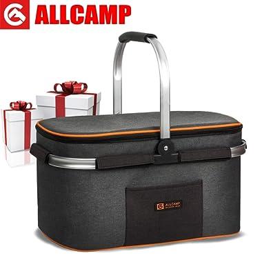 ALLCAMP Picnic Baskets 22L (Black+Orange)