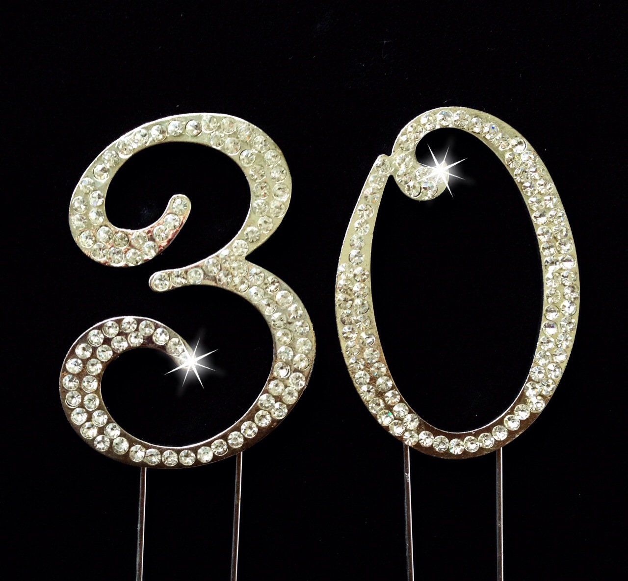 Com 30th Birthday Wedding Anniversary Number Cake Topper With Sparkling Rhinestone Crystals 2 75 Kitchen Dining