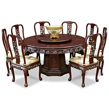 China Furniture Online Rosewood Dining Table 60 Inches Queen Ann Grape Motif Round Set