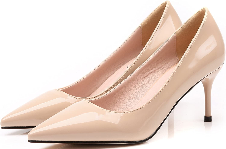 Mujer Fiesta Tacones altos Slip On Color puro De punta estrecha Zapatos de tac/ón Trabajo Zapatos De BIGTREE