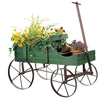 Captivating Amish Wagon Decorative Indoor / Outdoor Garden Backyard Planter, Green