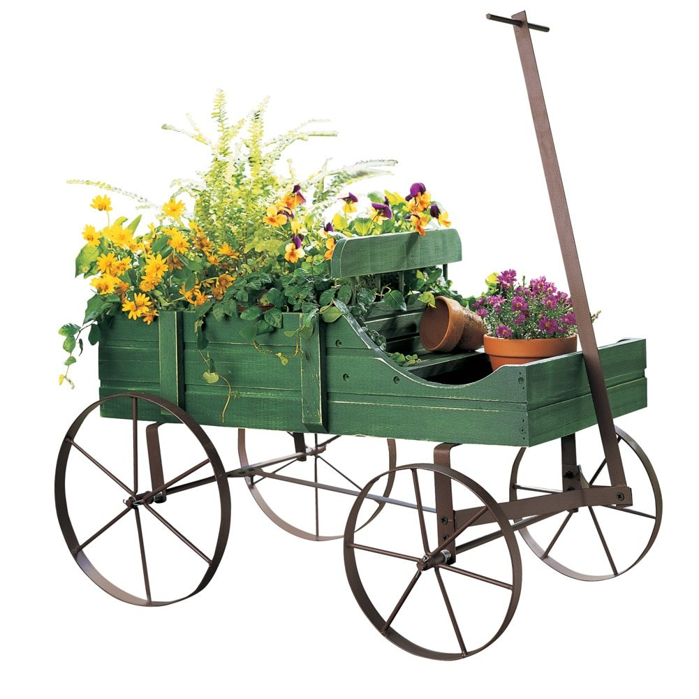 Collections Etc Amish Wagon Decorative Indoor/Outdoor Garden Backyard Planter, Green