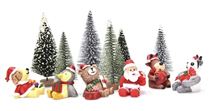 junke 12 pcs miniature christmas decorations miniatures mini resin desktop christmas ornaments christmas trees santa - Mini Christmas Decorations