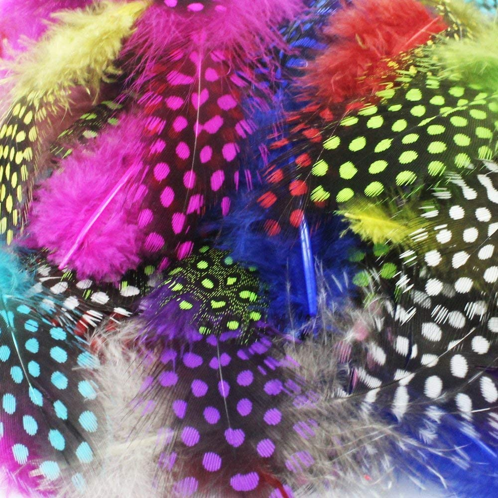 100pcs Craft Feathers Chicken Plumage Pheasant Feathers Spotted 3-5 inch for Jewelry Clothing Decoration Colorful Purple