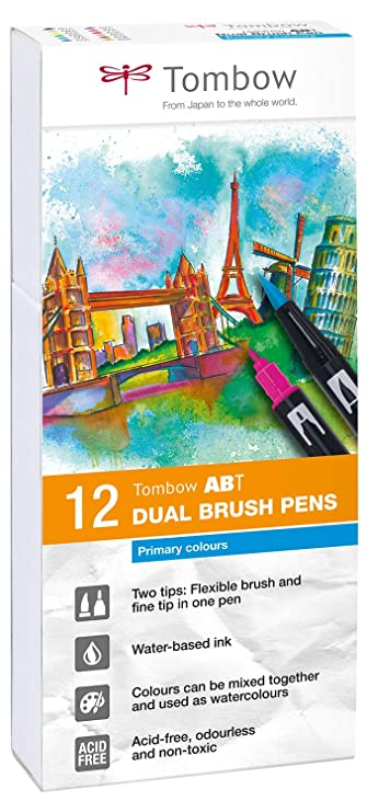 Tombow ABT-12P-1 Fiber Pen Dual Brush Pen con dos puntas Juego de 12 colores primarios