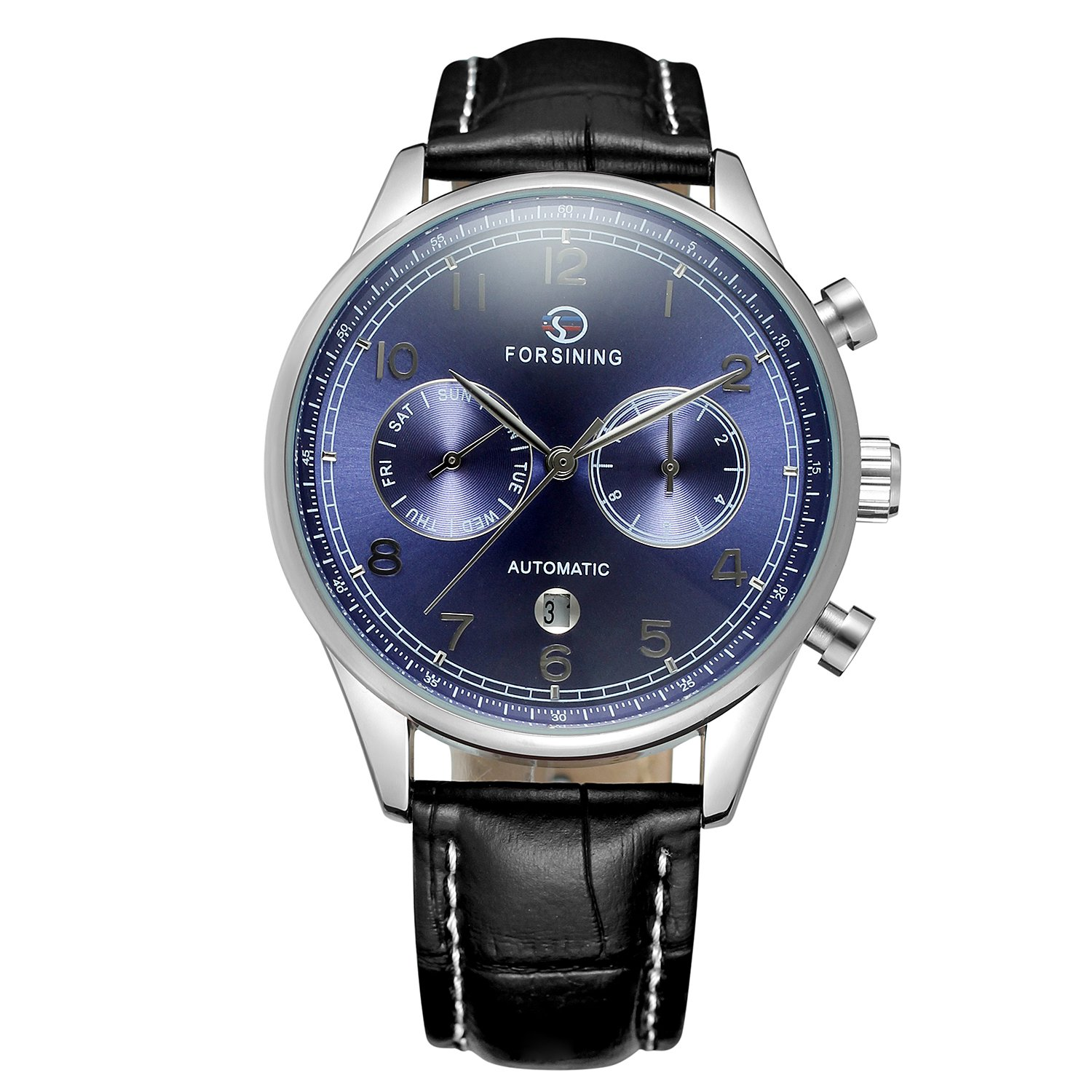 Amazon.com: FORSINING Mens Original Automatic Mechanical Calendar Watch with Leather Strap Military Clock Relojes: Watches