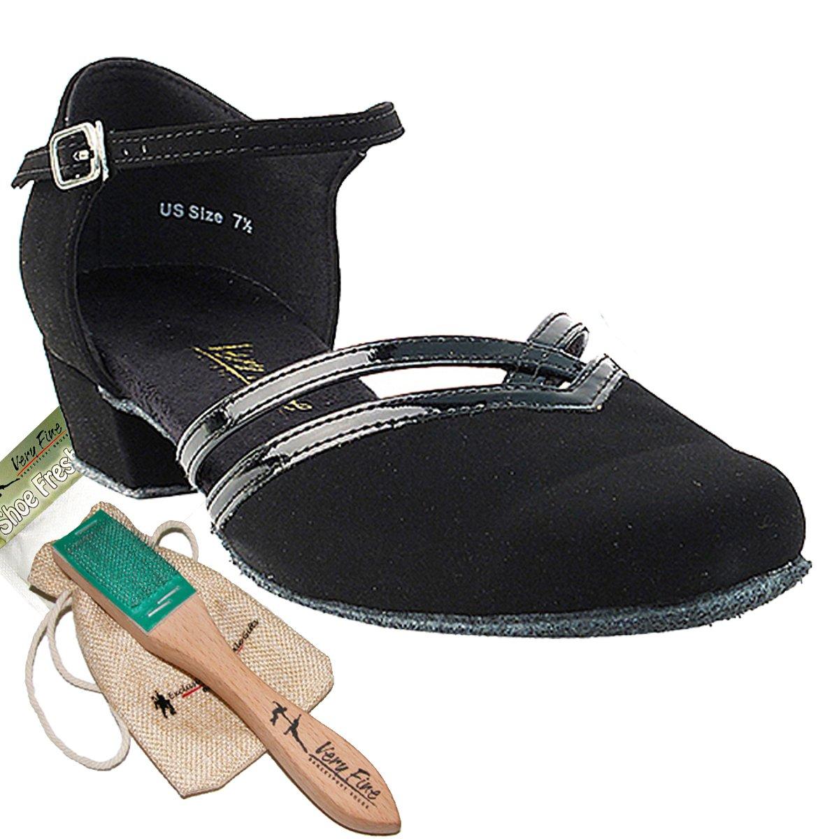 Womens Ballroom Dance Shoes Party Salsa Practice Shoes Black Nubuck 8881EB Comfortable - Very Fine 1'' Heel 10 M US [Bundle of 5]