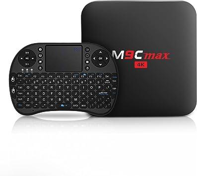 Bqeel Mini Teclado Inalámbrico con Touchpad + M9C MAX Android 6.0 Box 4K Amlogic S905X Quad Core 2G / 16G eMMC Smart Box (16g): Amazon.es: Electrónica