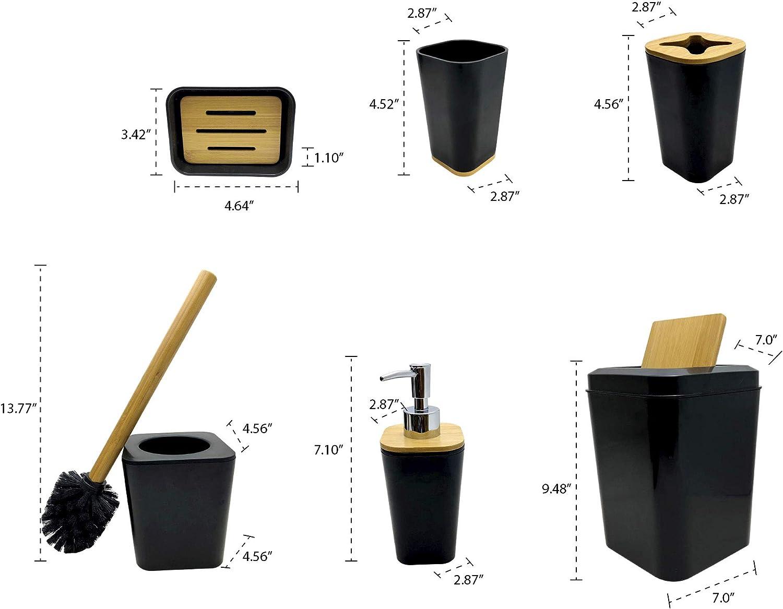 Waste Bin Rinse Cup Toilet Brush with Holder Black Soap Dish Hand Sanitizer Bottle Kralix Bathroom Set 6 Pieces Plastic Bathroom Accessories Toothbrush Holder