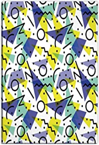 Hitecera Modern Decor Wall Art Decor,Geometric Retro 80s Themed Wall Art with Lines Circles and Spots Print Wall Art Decor for Living Room,12 x16in