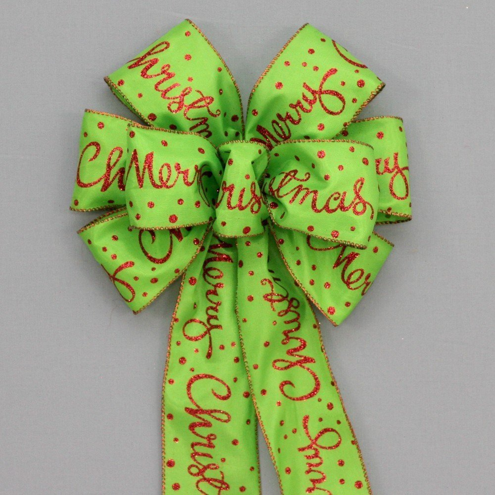 Red Merry Christmas Lime Green Bows - available in 2 sizes