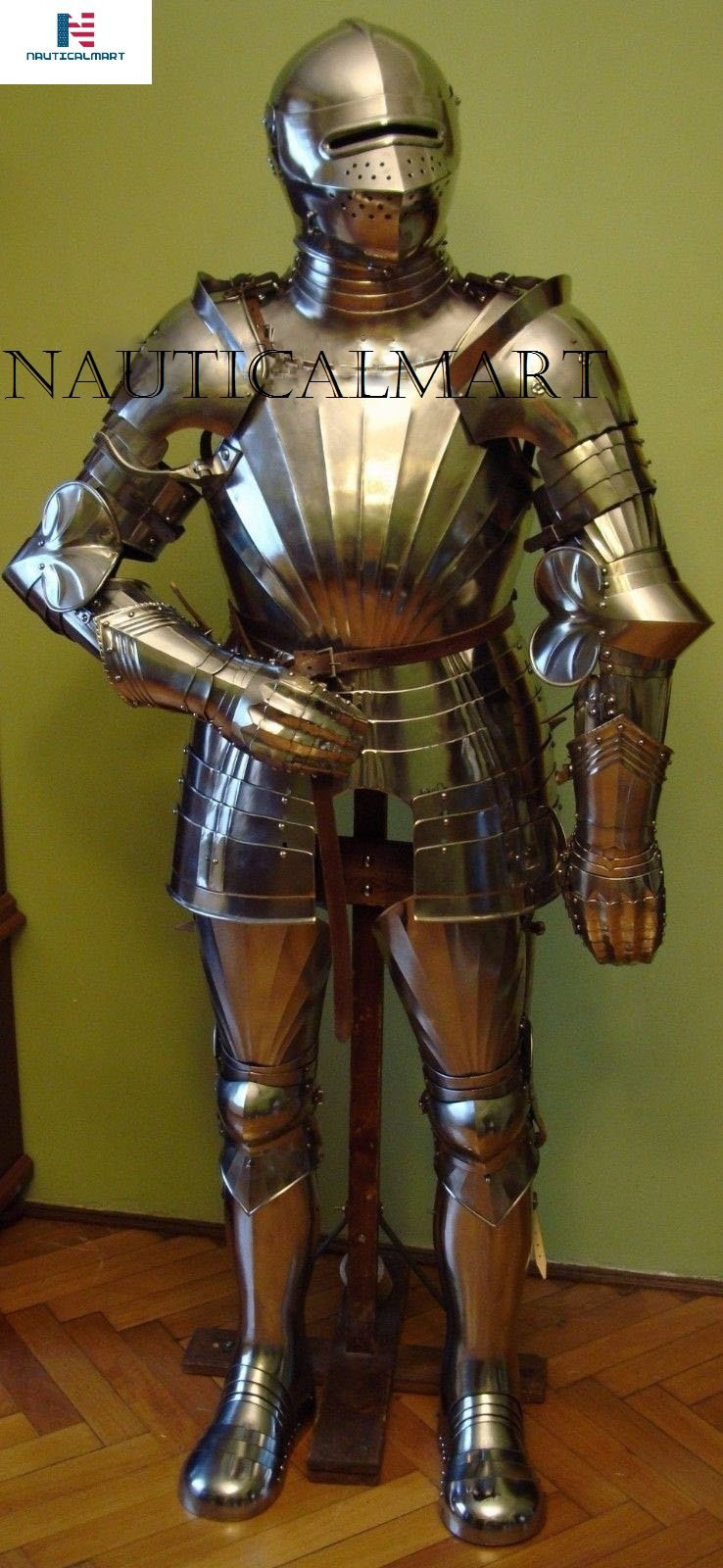 Maximilian Suit of Armor Halloween Costume With Closed Helmet Knight Suit