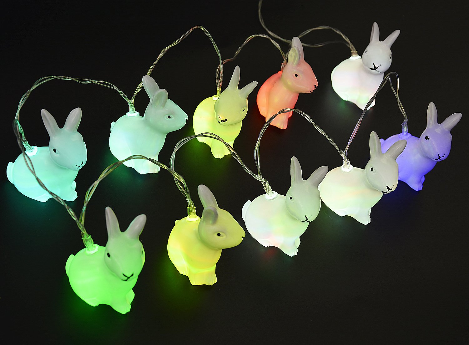 Kapmore Bunny Easter LED Night Light, Easter Rabbit String Lights Bunny Shaped 10 LED Battery Powered Decorative Lights with Clear Cord for Valentine Party,Holiday Night, Easter, Gardens, Wedding