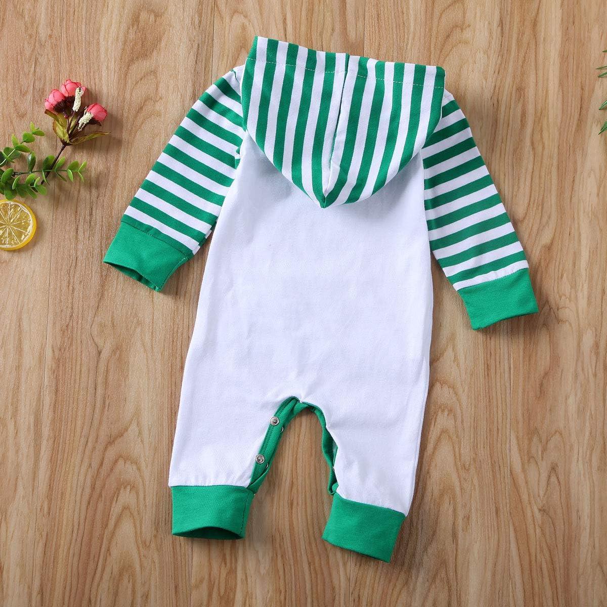Mein erstes St.Patricks Day Baby Boy Girl Strampler Clover gestreifte Tasche Langarm Body Fr/ühling Kleidung