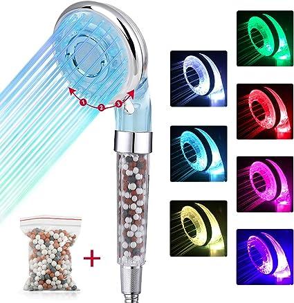 Vieni con Tubo e un pacchetto di sfere extra minerali Alta Pressione Risparmio Acqua 3 mode doccia con 7 Colori Cambia Soffione Doccia Anticalcare con LED