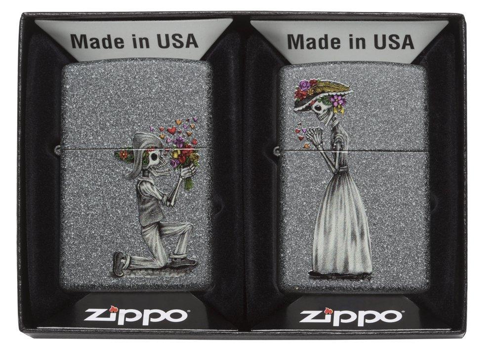 Zippo Skeleton Flowers  Iron Stone Gift Set Pocket Lighters