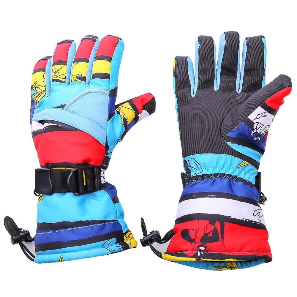 tuban防風防水冬スキースキー雪暖かい手袋for Men and Women ( 1ペア付属 B01LWZPXHV  ブルー Medium