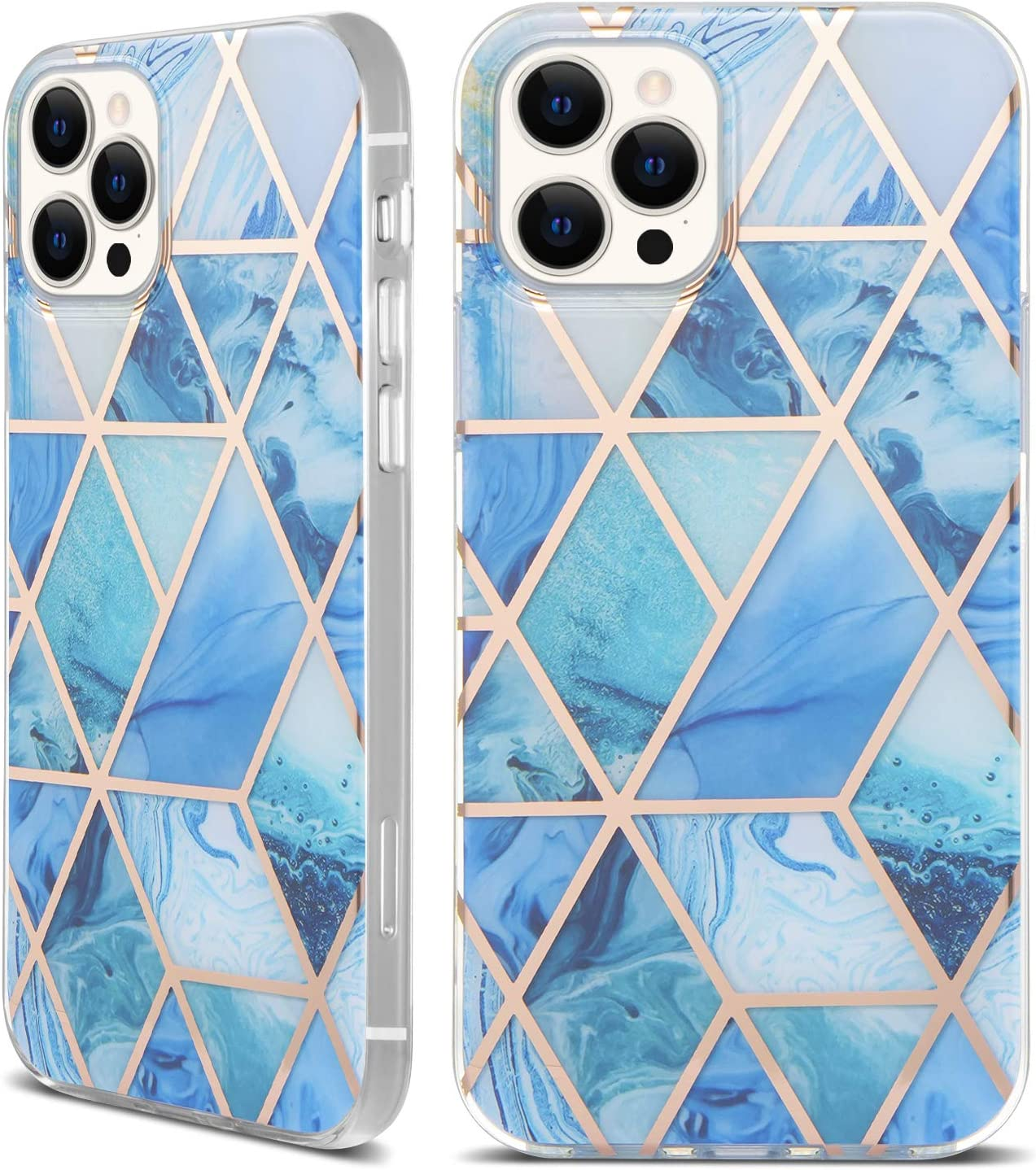 tharlet iPhone 12 Pro Max Case 6.7 in 5G, Glossy Bronzing Geometric Marble Case Hard PC Soft TPU Bumper Protective Shockproof Shell Cover for iPhone 12 Pro Max 2020 - Blue