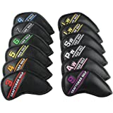 Craftsman Golf 12pcs Black Synthetic Leather Golf Iron Head Covers Set Headcover with Colorful Number Embroideried,easily get the needed iron For Titleist, Callaway, Ping, Taylormade, Cobra