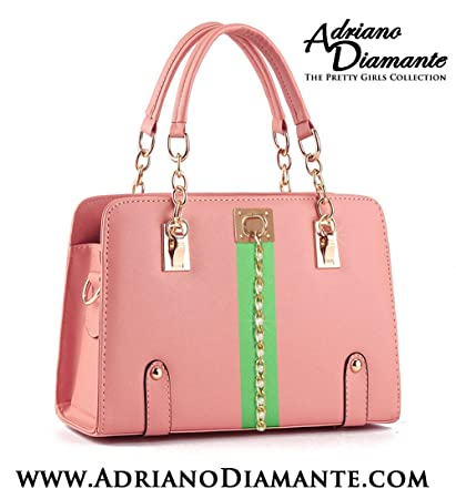 80caf72185f3 Image Unavailable. Image not available for. Color  Pretty Girls Collection  Adriano Diamante Pink Green Purse Tote Bag Handbag Pin Gift