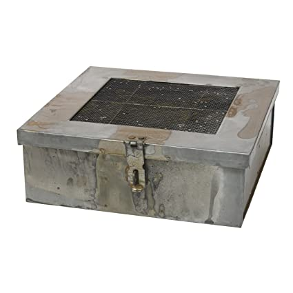 Stonebriar Industrial Galvanized Metal Storage Box With Hinged Lid And 6  Divided Compartments, Decorative Trinket