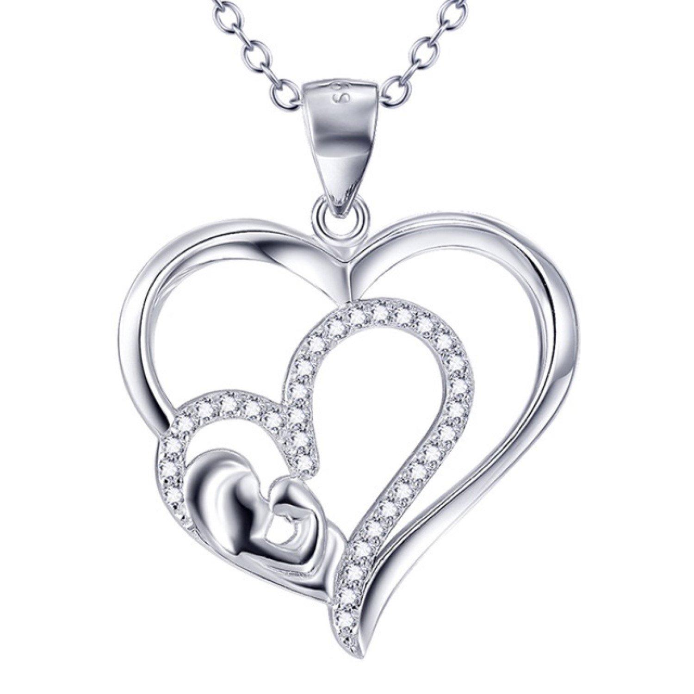 CS-DB Pendants Necklaces Silver Girls Mother /& Child Jewelry Cubic Zirconia Jewelry