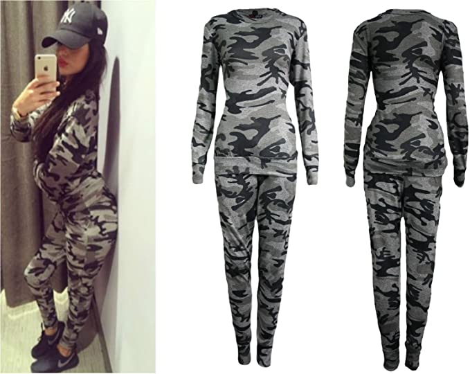 Femmes Co ord Extensible Imprimé Camouflage Armée Combi Jogging Ensemble Femmes Survêtement Femme, Imprimé Militaire, ML 40 42
