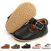 BiBeGoi Infant Baby Girls Boys T-Strap Pu Leather Mary Jane T-Bar Buckle Oxford Princess Wedding Dress Flat Shoes Anti…
