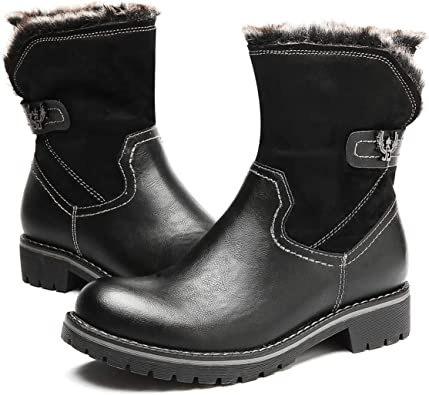 Bottes De Neige Bottines Chaussures en fourrure synthétique Block Talons Hauts Hiver Chaud Bottes