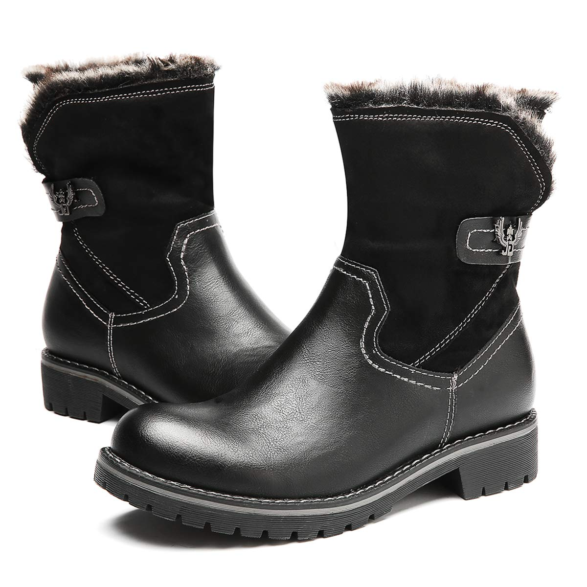 f0046faf75024 gracosy Winter Snow Boots Outdoor Fur Lined Warm Ankle Booties Waterproof  Slip on Combat Boots for Women