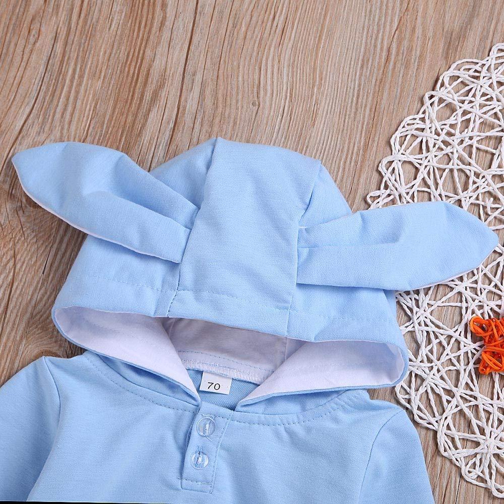 Wenjuan Toddler Baby Boys Girls Winter Long Sleeve Hooded Cartoon 3D Ear Rabbit Print Romper Jumpsuit