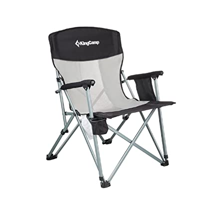KingCamp Folding Chair Mesh Back With Cup Holder Armrest Pocket Headrest,  Breathable Portable Oversize Heavy