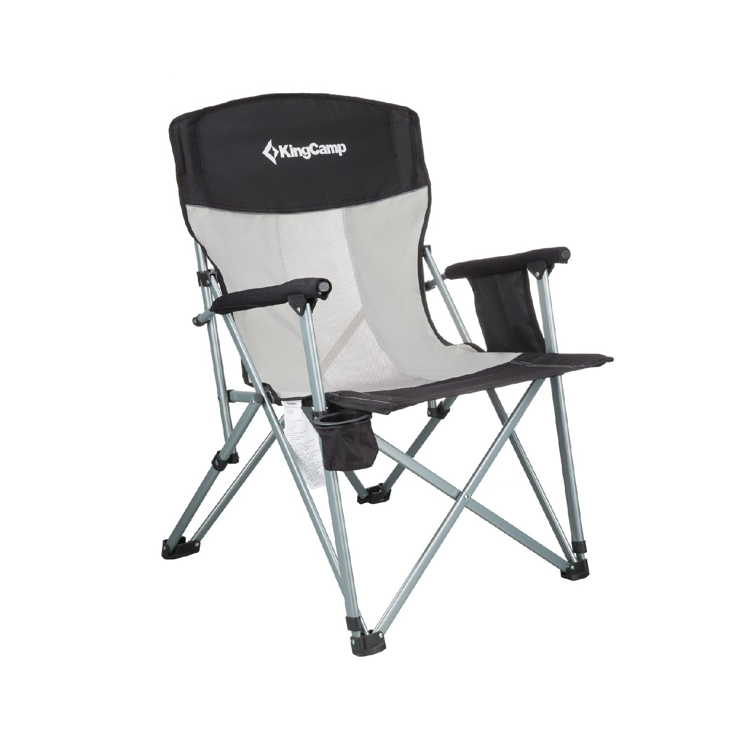 KingCamp Camping Chair Mesh High Back Ergonomic with Cup Holder Armrest Pocket Headrest Breathable Folding Portable Oversized Heavy Duty, Supports 330 lbs
