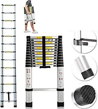 Escalera telescópica de aluminio de 12.5 pies, escalera ...