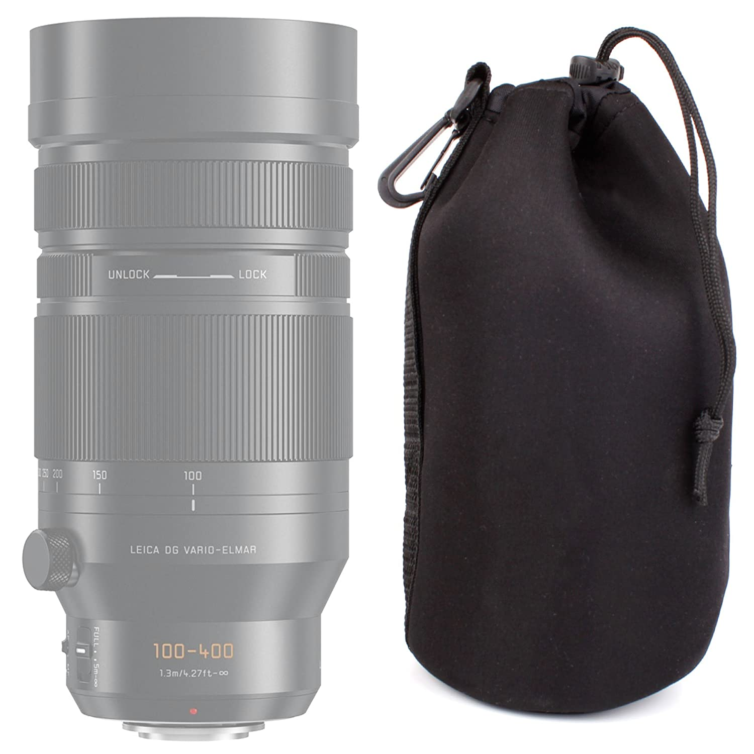 DURAGADGET Black Soft Neoprene Large-Sized Camera Lens Pouch/Case for the Panasonic Leica DG Vario-Elmar 100-400mm F4.0-6.3 ASPH Power OIS Lens 5054646710453