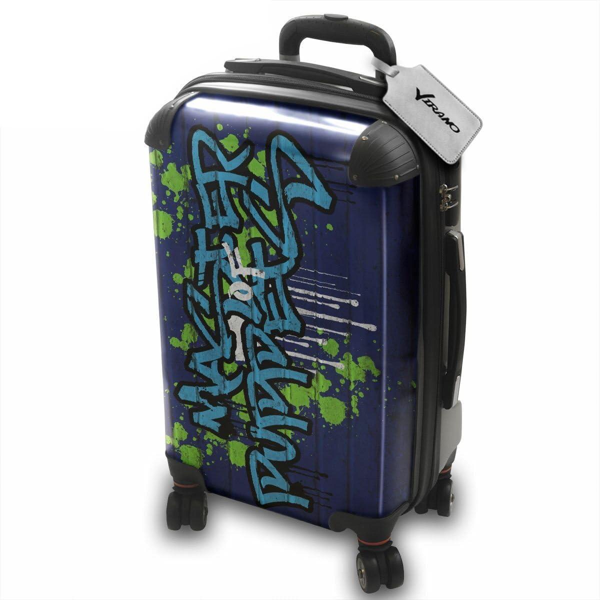 Grafiti 10036, Puppets Master, Policarbonato ABS Spinner Trolley Luggage Maleta Rigida Equipaje con 4 Ruedas de 360° con Motivo Intercambiables. Color Plateado. Pequeño S Maleta Cabin.