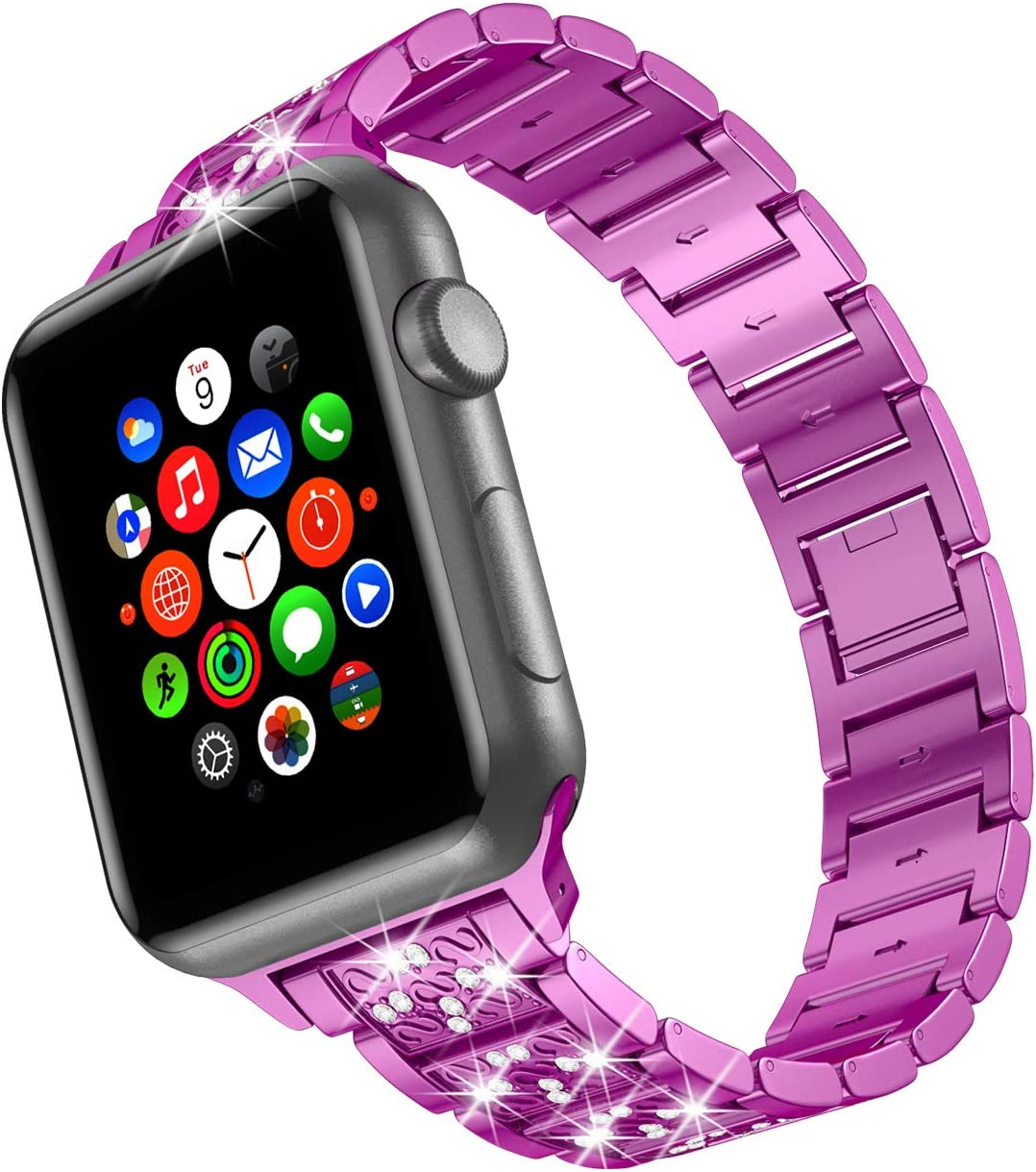 wootfairy for Apple Watch Band 42mm 44mm SE Series 6 Series 5 4 3 2 1 , Bling Replacement Bracelet iWatch Band, Diamond Rhinestone Stainless Steel Metal Wristband Strap Purple, 42mm/44mm