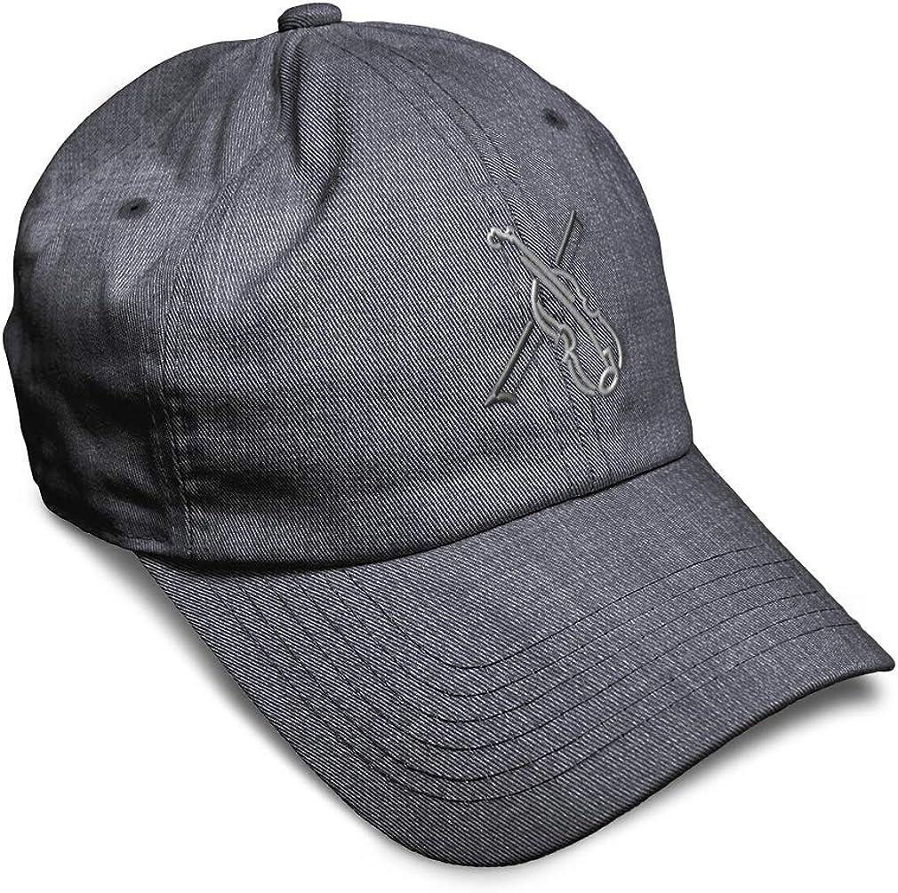 Custom Soft Baseball Cap Violin Outline Silver Embroidery Twill Cotton