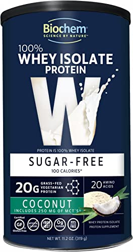 Biochem 100 Whey Isolate Protein – 11.2 oz – Sugar Free Coconut – 20g Vegetarian Protein – Keto-Friendly – Amino Acids – May Help Support Immune System – Easy to Mix – Magnesium