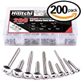 Hilitchi 200-Pcs 304 Stainless Steel Phillips Truss Head Self Tapping Sheet Metal Screws Assortment Kit Set, Thread Size #6 #8 #10 #12, Length 3/4'' to 1-1/2''